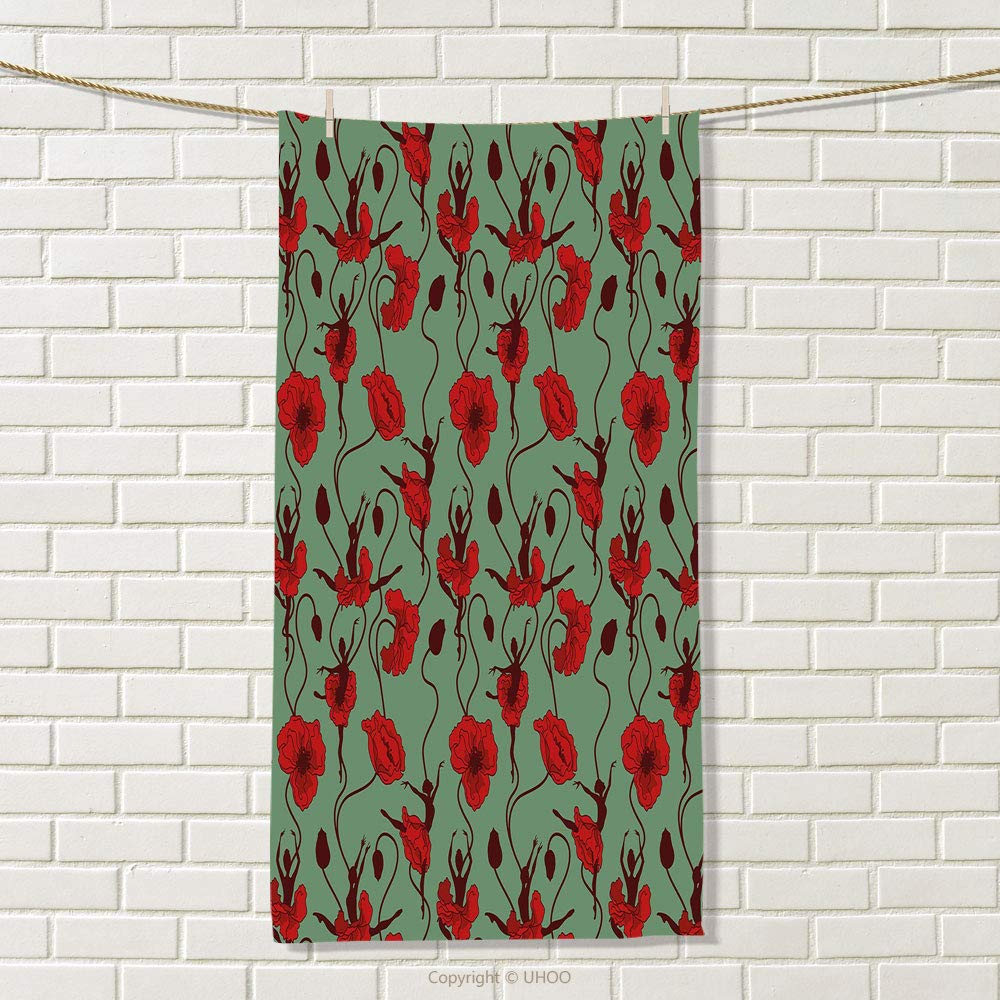smallbeefly Poppy Sports Towel Floral Arrangement with Abstract Ballerina Dance Themed Botanical Print Absorbent Towel Green Chesnut Brown Red Size: W 35.5'' x L 24''