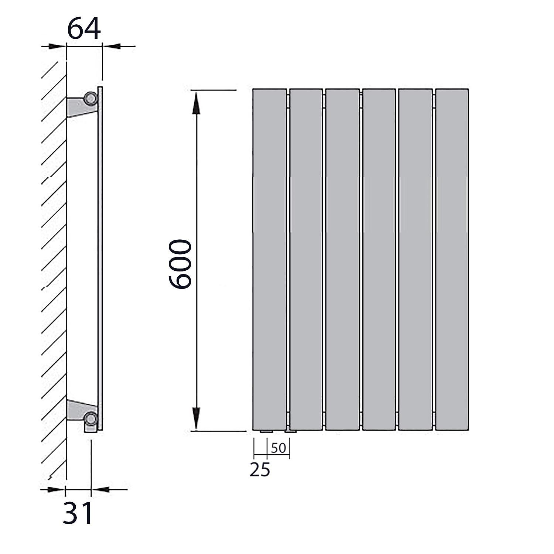 600 x 298 196 Watt nach EN442 Design Paneelheizk/örper Flachheizk/örper mit seitlichem Anschluss Anschluss links
