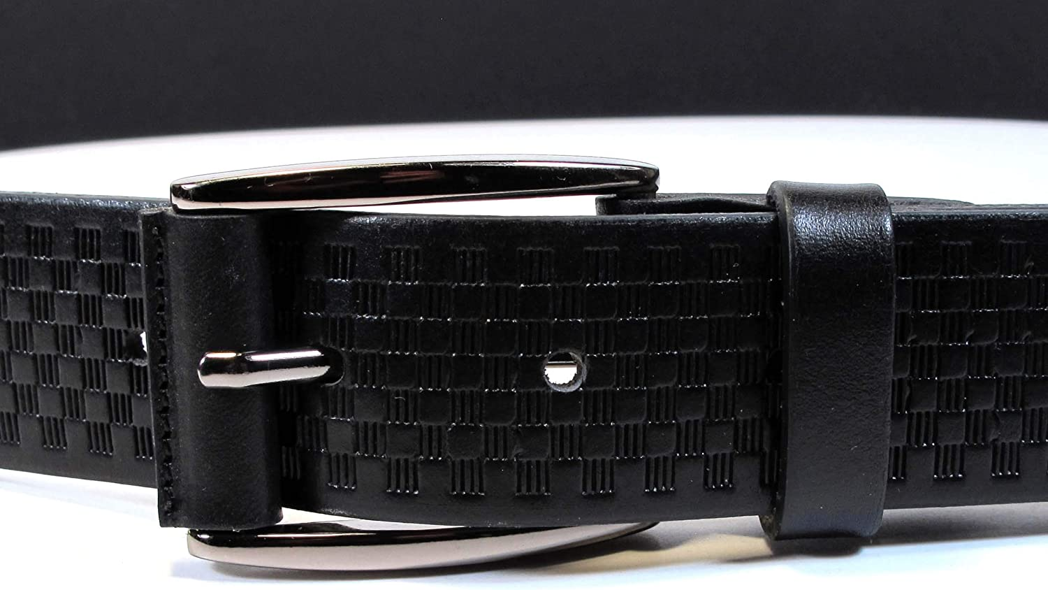 CM3 Mens Real Genuine Leather Black Belt 1.25 Wide S-XL Thick Long Casual Jeans