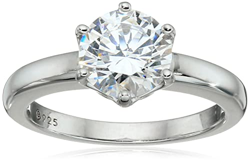 4d5e165a2764d Platinum-Plated Sterling Silver Round-Cut Swarovski Zirconia Solitaire  Engagement Ring (2 cttw)