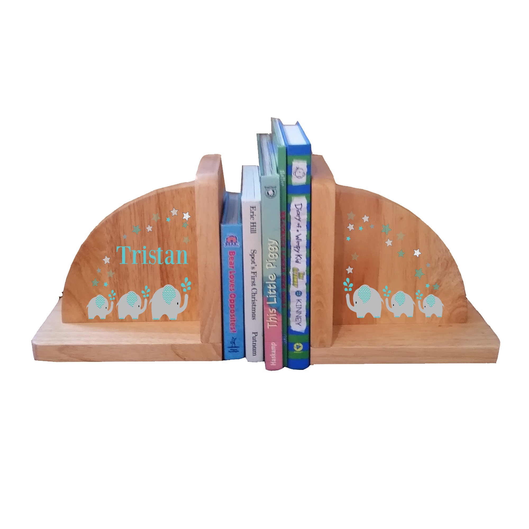 Personalized Elephant Teal Natural Childrens Wooden Bookends