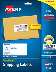 Avery 8163 Shipping Labels, Inkjet Printers, 250 Gift Labels, 2x4 Labels, Permanent Adhesive, True Block, White