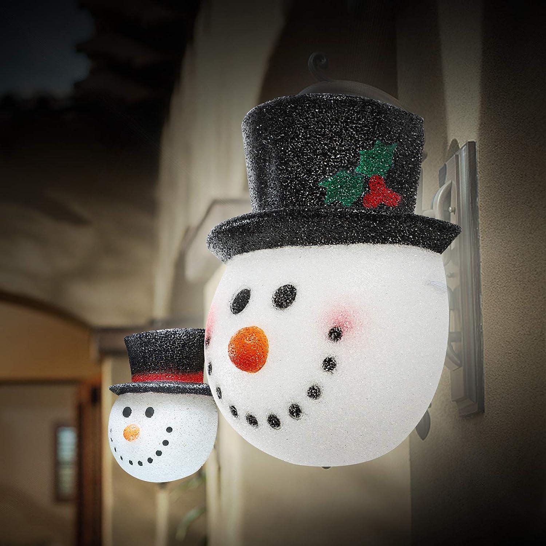 MorTime Set of 2 Christmas Snowman Lampshade for Corridor Wall Lamp Decoration Outside Xmas Lamp Shade Holiday Decor