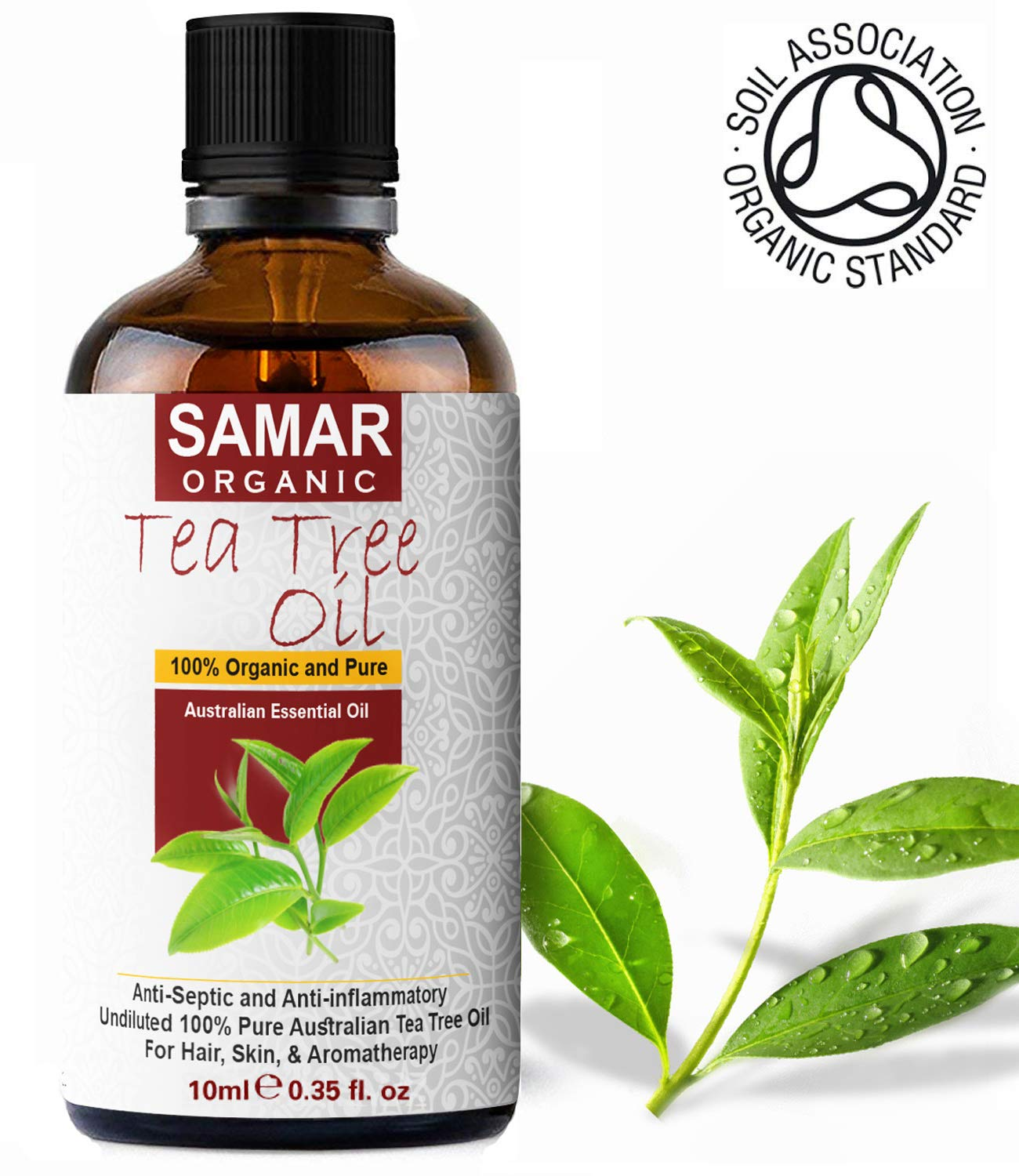 Tea Tree Oil - Premium Quality 100% Pure and Certified Organic Australian Tea Tree Oil Natural, Vegan & undiluted, Use in Antiseptic, Aromatherapy, Massage Blend and Skin Care Treatment – 10ml