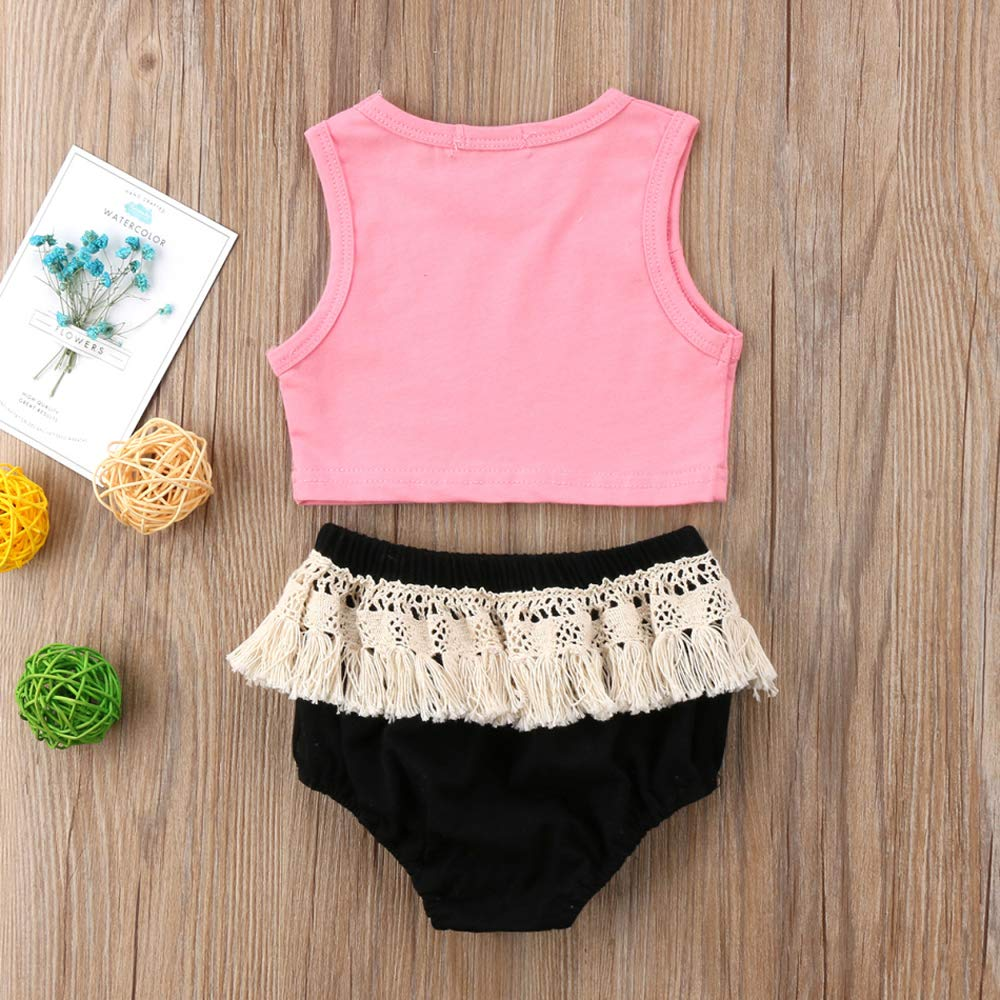 Infant Toddler Baby Girl Beach Babe Top and Tassel Shorts Pants 2 Piece Sunsuit Playwear Outfits