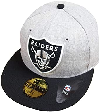 New Era Oakland Raiders Heather Grey Black NFL Cap 59fifty 5950 Fitted  Basecap Kappe Men Special 18f2172a5