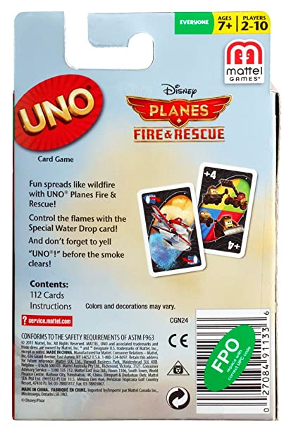 Amazon Disney Planes Fire Rescue Uno Card Game Toys Games