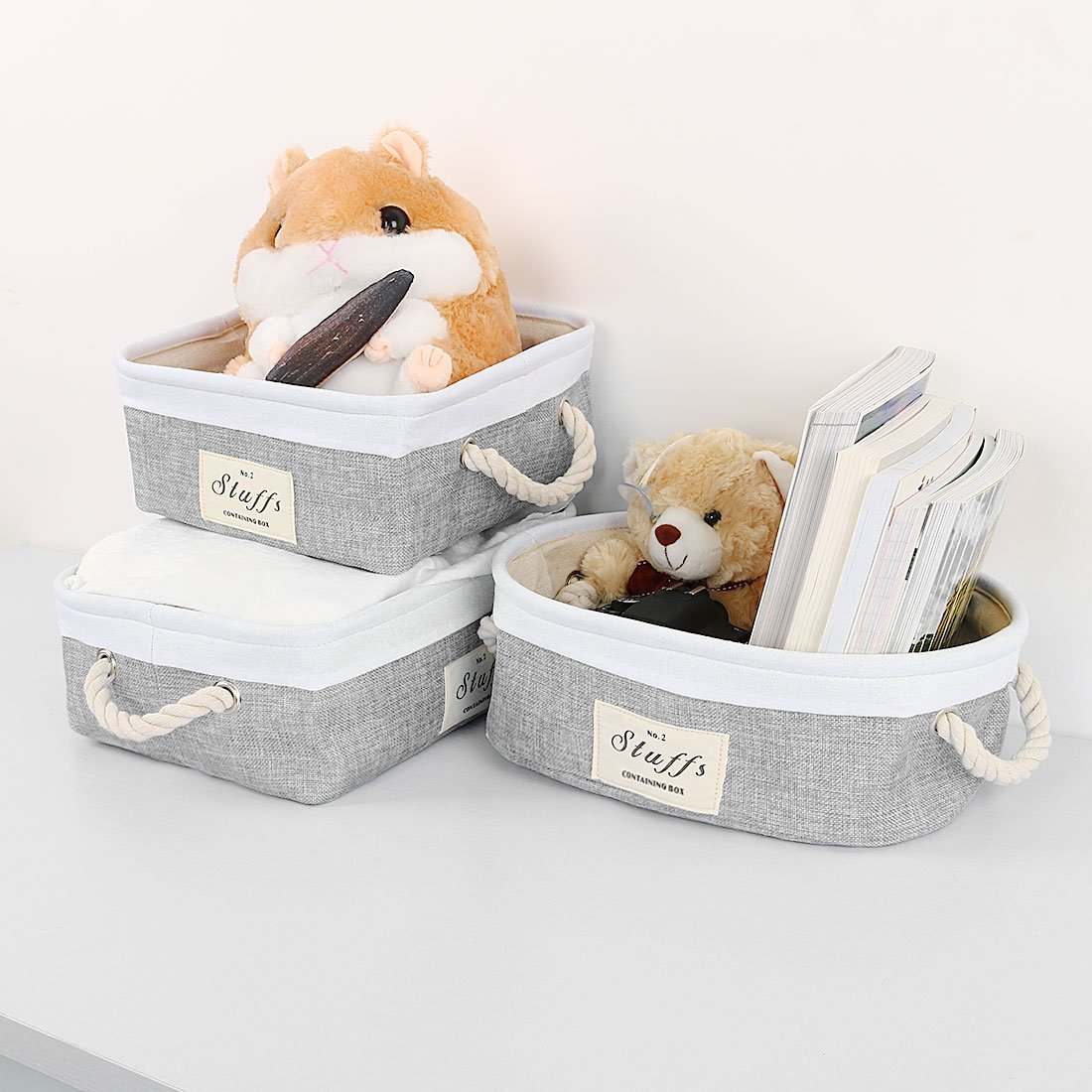 uxcell Folding Canvas Fabric Storage Basket Bin Container Organizer Cube Laundry Hamper w/Cotton Rope Handles for Clothes, Laundry, Toys, Books & More (Rectangle,Gray) by uxcell (Image #7)