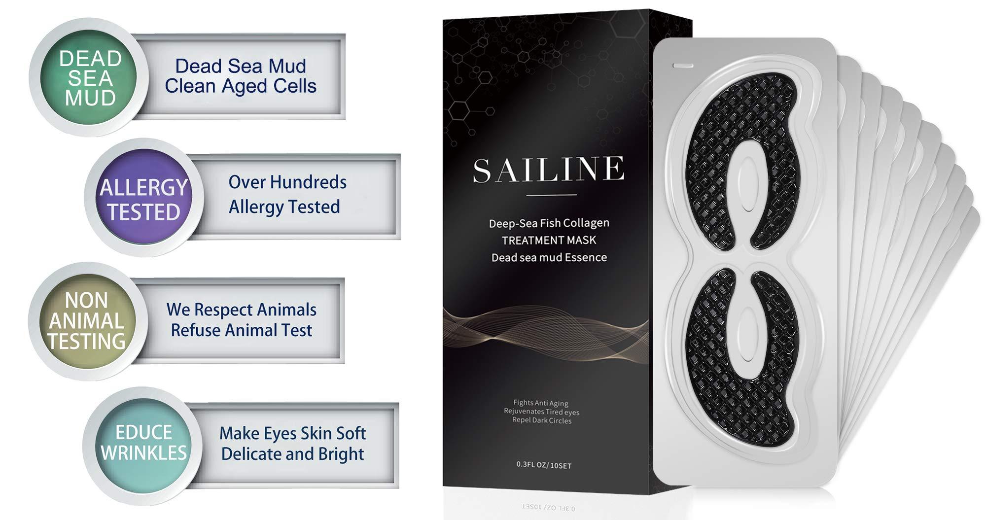 Natürliche Kollagen-Augenmaske für Männer und Frauen, feuchtigkeitsspendend und reduziert dunkle Kreise, Schwellungen, Anti-Aging, enthält Toten Meer Schlamm Essenz