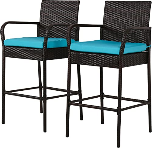 Kinsunny 2 PCs Patio Wicker Rattan Bar Stools Bistro Set Tall Stools Chair All Weather Outdoor Furniture Barstool with Cushions and Armrest, Brown