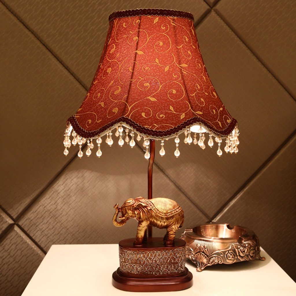 Great St. Creative Elephant Desk Lamp Retro Sculpture Resin Reading Light E27 Lamp Holder Living Room/Bedroom/Study Lighting Decorative Lights FGD (Color : Dimmer switch)