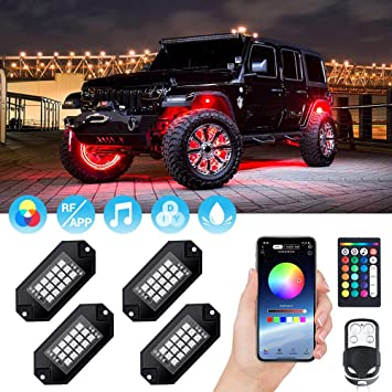 Timing 4 Pods Multicolor Neon Light with Bluetooth Control Music Mode Underglow LED Lights for Truck UTV ATV Car Boat Offroad Motorcycle Flashing Auto Power Plus RGB LED Rock Lights Kits