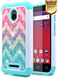 Alcatel Ideal Case with [Tempered Glass Screen Protector], Alcatel Pixi Avion 4G LTE / Pixi Bond / Ideal 4G LTE / Dawn / Streak, NageBee Silicone Cover Studded Rhinestone Bling Design Hard Case-Wave