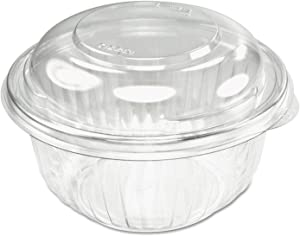 Dart C12BCD, 12-Ounce PresentaBowls Clear Plastic Salad Bowl with Clear Dome Lid, Serving/Catering Take Out Deli Bowls, Carry Out Food Containers (50)