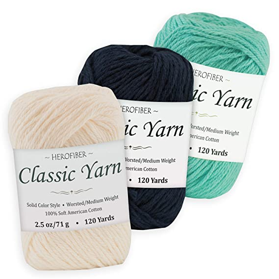 3 Solid Colors Hot Pink Parchment White | Snow White Cotton Yarn WorstedMedium Weight 2.5 oz Each Assortment for Knitting,