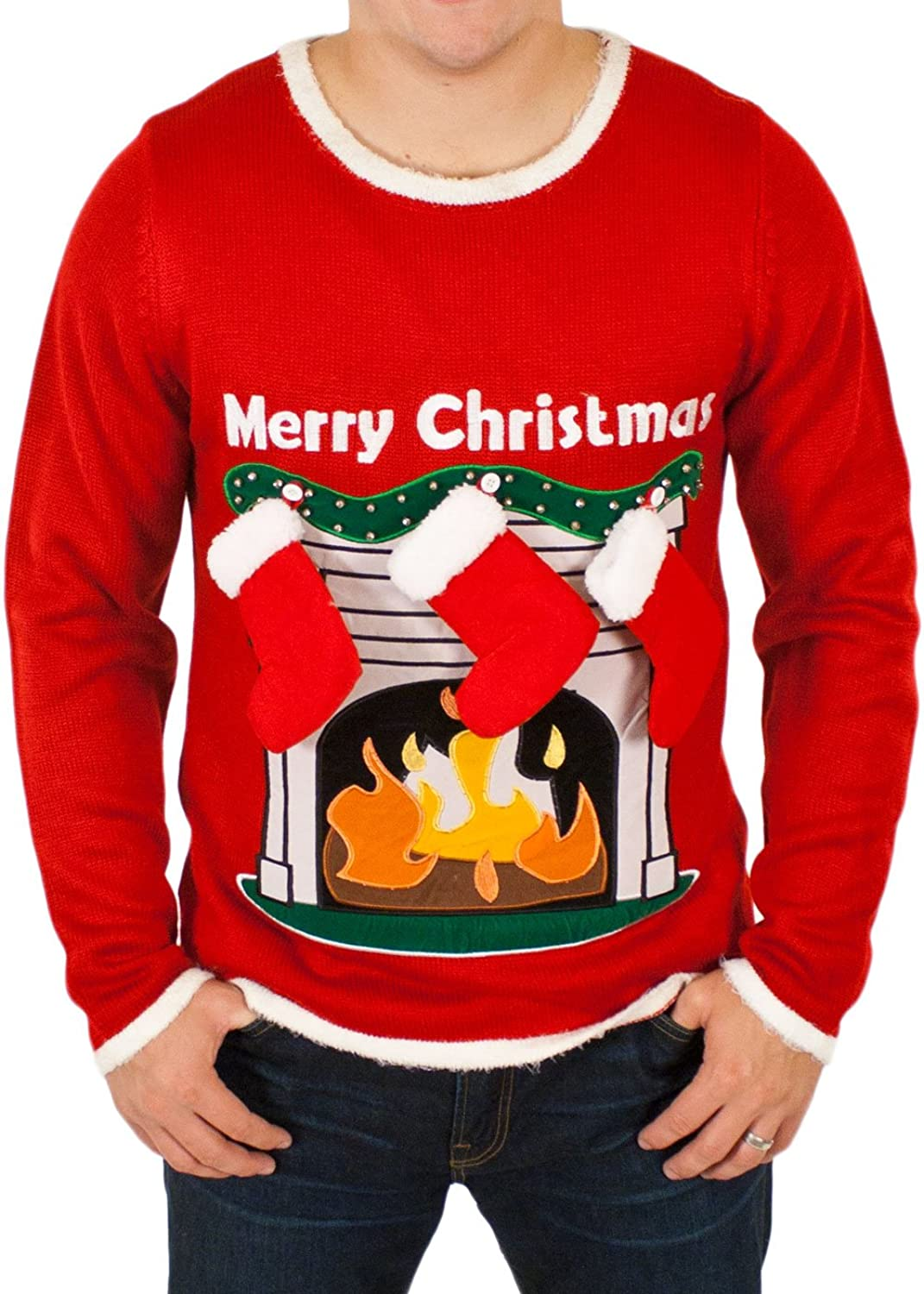 Amazon.com: Ugly Christmas Sweater   Lighted LED Fireplace Sweater With 3 D  Stockings In Red Medium By Festified: Clothing
