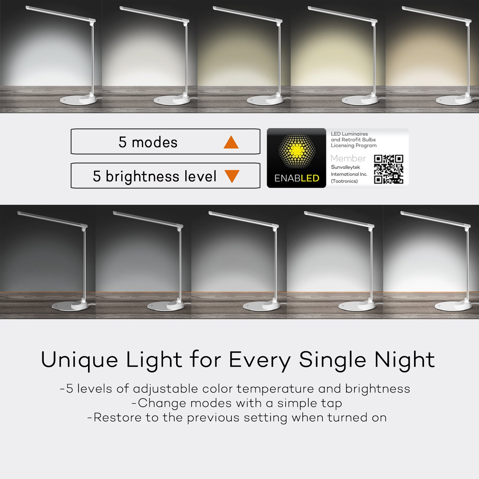 TaoTronics LED Desk Lamp with USB Charging Port, Eye- care Dimmable Lamp, 5 Color Temperatures with 5 Brightness Levels, Touch Control, Metal, Official Member of Philips EnabLED Licensing Program by TaoTronics (Image #3)