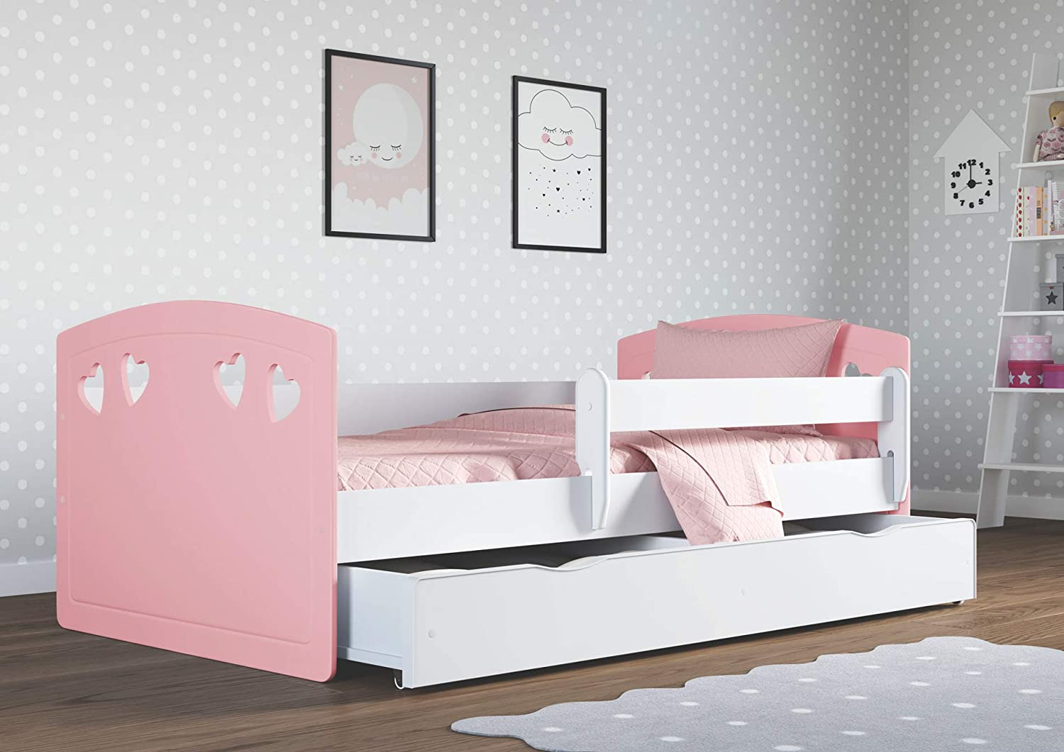 Pale Pink Children Bed with Mattress Included 70x140 80x160 80x180 Toddler Bed Safety Rail and Drawer Included 140x80 Perfect for Girls