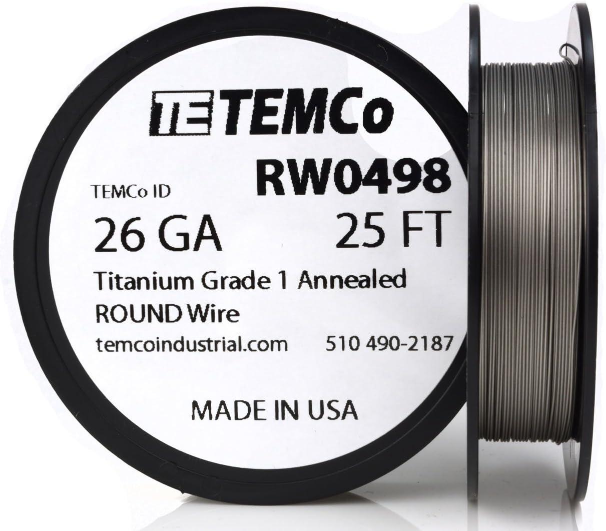 TEMCo Titanium Wire 26 Gauge 25 FT Surgical Grade 1 Resistance AWG ga