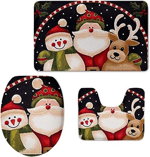 FOR U DESIGNS Christmas 3 Piece Soft Bathroom Rug Set Include