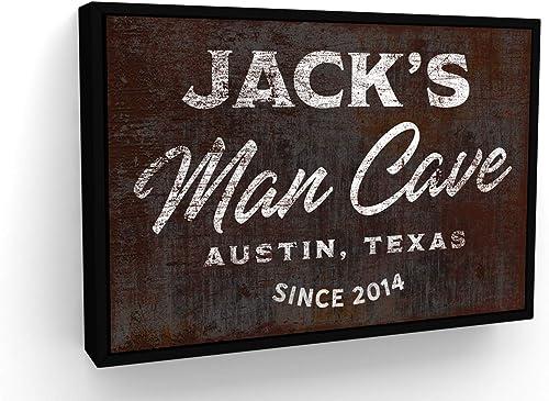Editors' Choice: Pretty Perfect Studio Man Cave Decor | Custom Man Cave Sign on Canvas Wall Art | 18″x 24″ Black Framed