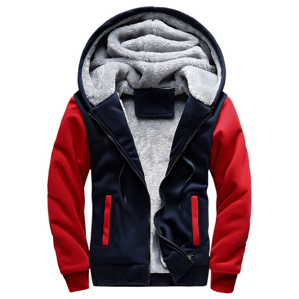 WOCACHI Mens Coat Thicken Fleece Jackets Color Block Outerwear Hooded Overcoat WOCACHI-180928