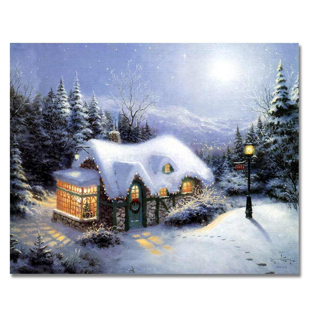 Rihe Diy Oil Painting by Numbers -Snow Scene- PBN Kit for Adults Girls Kids White Christmas Decor Decorations Gifts 16x20inch (Frameless)