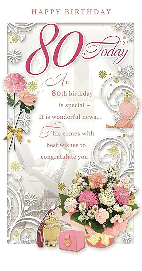 Age 80 Female Birthday Card 80 Today Flowers Bag Cases 9 X