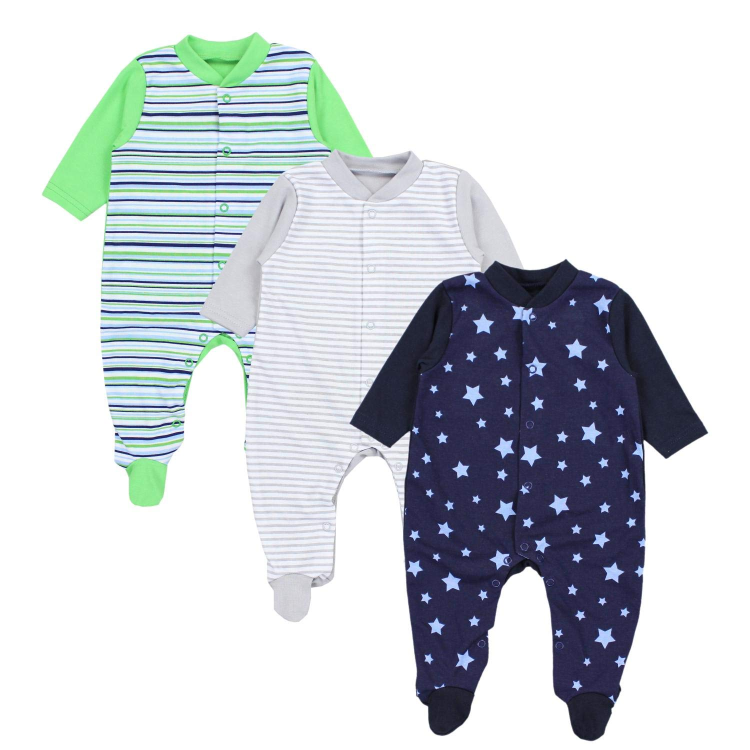 TupTam Baby Boys Sleepsuit with Feet Pack of 3