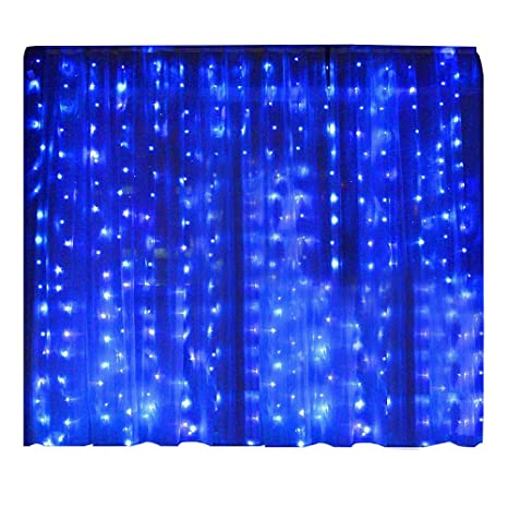 lightess 300 led christmas string fairy outdoor or indoor curtain lights blue