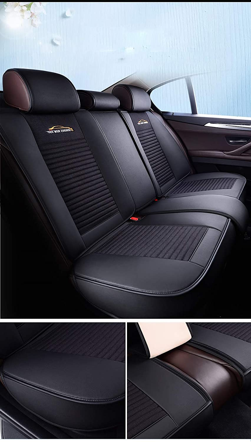 Love Heart Version Beige Saienno Flower Ambassador Luxury wear-Resistant Leather and Breathable Linen Auto Car Seat Covers 5 Seats Full Set Universal Fit.