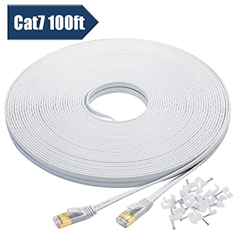 Cat 7 Ethernet Cable 100 Feet, High Speed 10 Gigabit Flat LAN Network Patch Cable