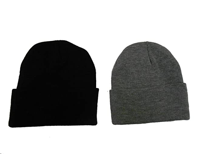 4c370cc6 Image Unavailable. Image not available for. Color: Great Deals! 2 Pack Knit  Beanies / Black ...