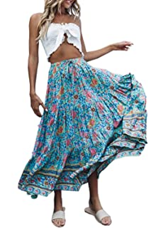 da5ab284ac AlvaQ Women Coral Print Long Maxi Skirt (8 Colors and Design Print)