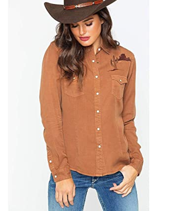 27f7183aca18c0 Panhandle Women's Rough Stock by Embroidered Desert Cactus Western Shirt -  R4f7622 at Amazon Women's Clothing store: