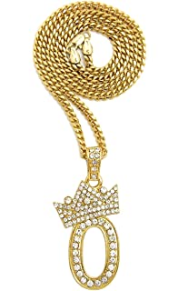 Fashion 21 Womens Crown Tilted Initial Alphabet Letter Pendant 10mm 18 inches Cuban Chain Necklace in Gold Tone
