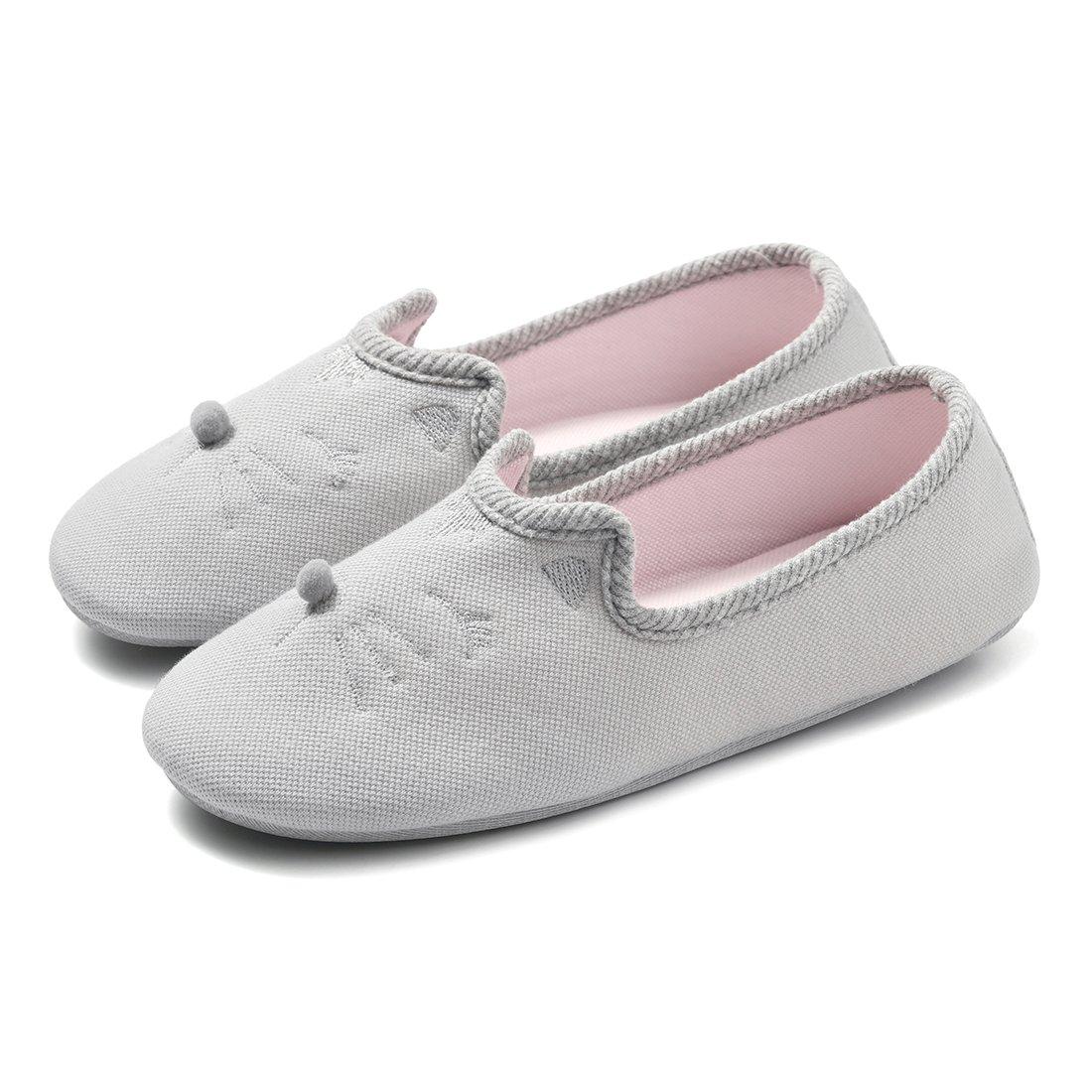Cellicigal Women Cute Home Ballerina Slippers Comfort Animal Non Slip Indoor Shoes 34859 (7.5-8 B(M) US, Grey)