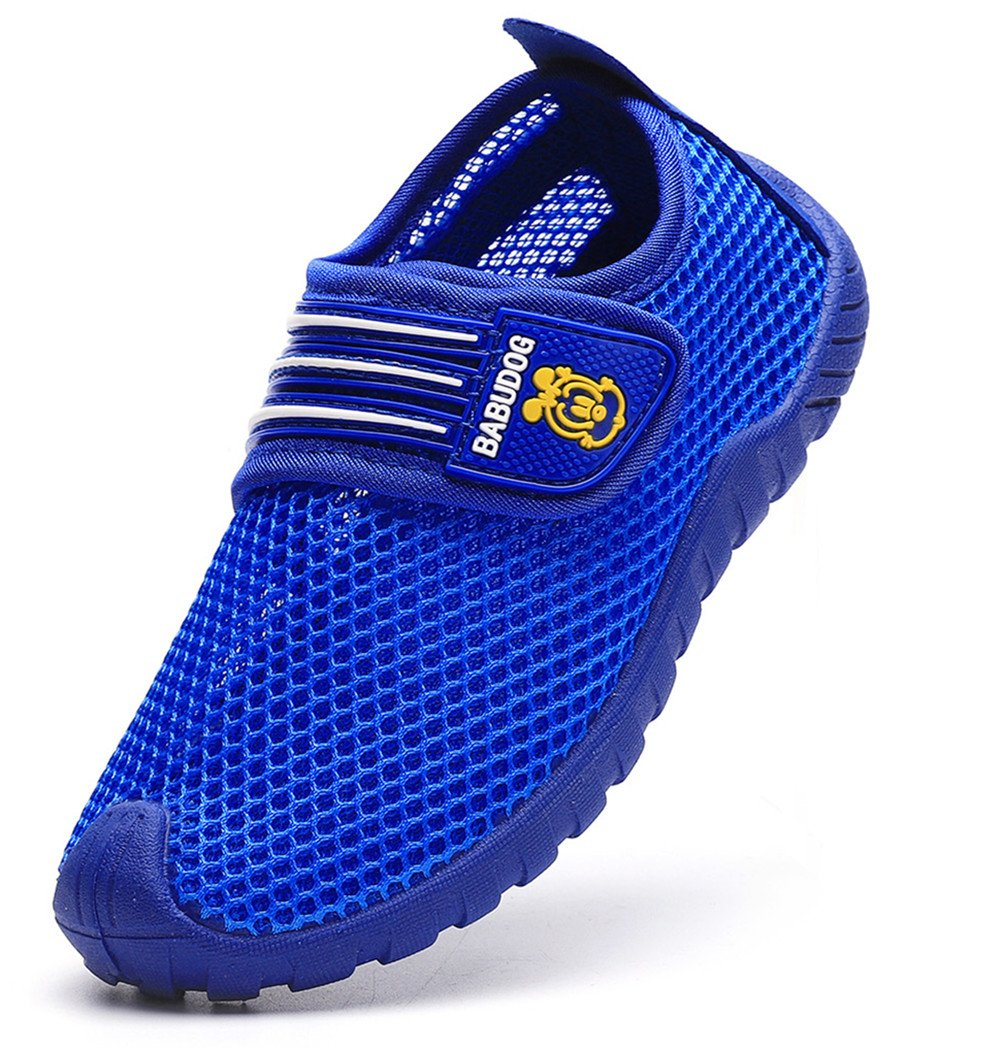 DADAWEN Kid's Boy's Girl's Breathable Mesh Sneakers Strap Athletic Running Shoes Blue US Size 12 M Little Kid