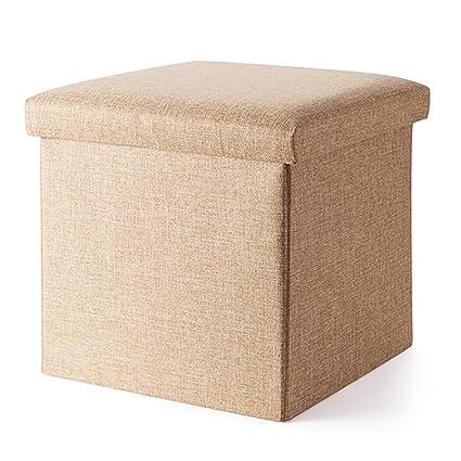 LFF  Folding Cube Organizer Foldaway Storage Box Foldable Storage Stool  With Lid Small Storage Stool