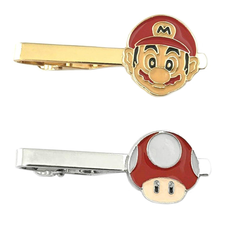 Outlander Video Games - Super Mario & Super Mario 1-UP - Tiebar Tie Clasp Set of 2 Wedding Superhero Logo w/Gift Box Outlander Brand
