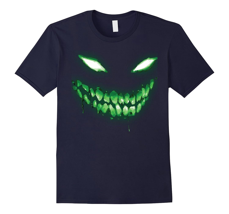 Halloween Shirt Scary Face Halloween Dark Green Glow Shirt-ANZ