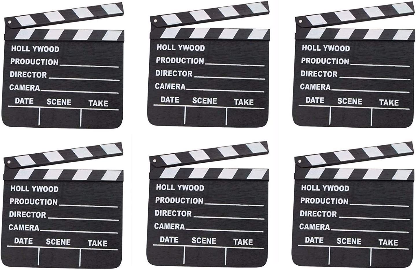 Rhode Island Novelty 7 Inchx 8 Inch Hollywood Movie Clapboards Set of 6