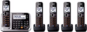 Panasonic Link2Cell KX-TG7875S DECT 6.0 1-Line Bluetooth Cordless Phone - 5 Handsets Black/Silver