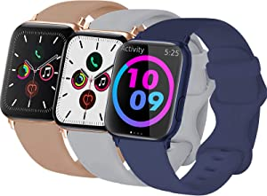 3-Pack Idon Sport Band Compatible for Apple Watch Band 40MM 44MM 38MM 42MM, Soft Silicone Sport Bands Replacement Strap Compatible with iWatch Series SE/6/5/4/3/2/1 All Models