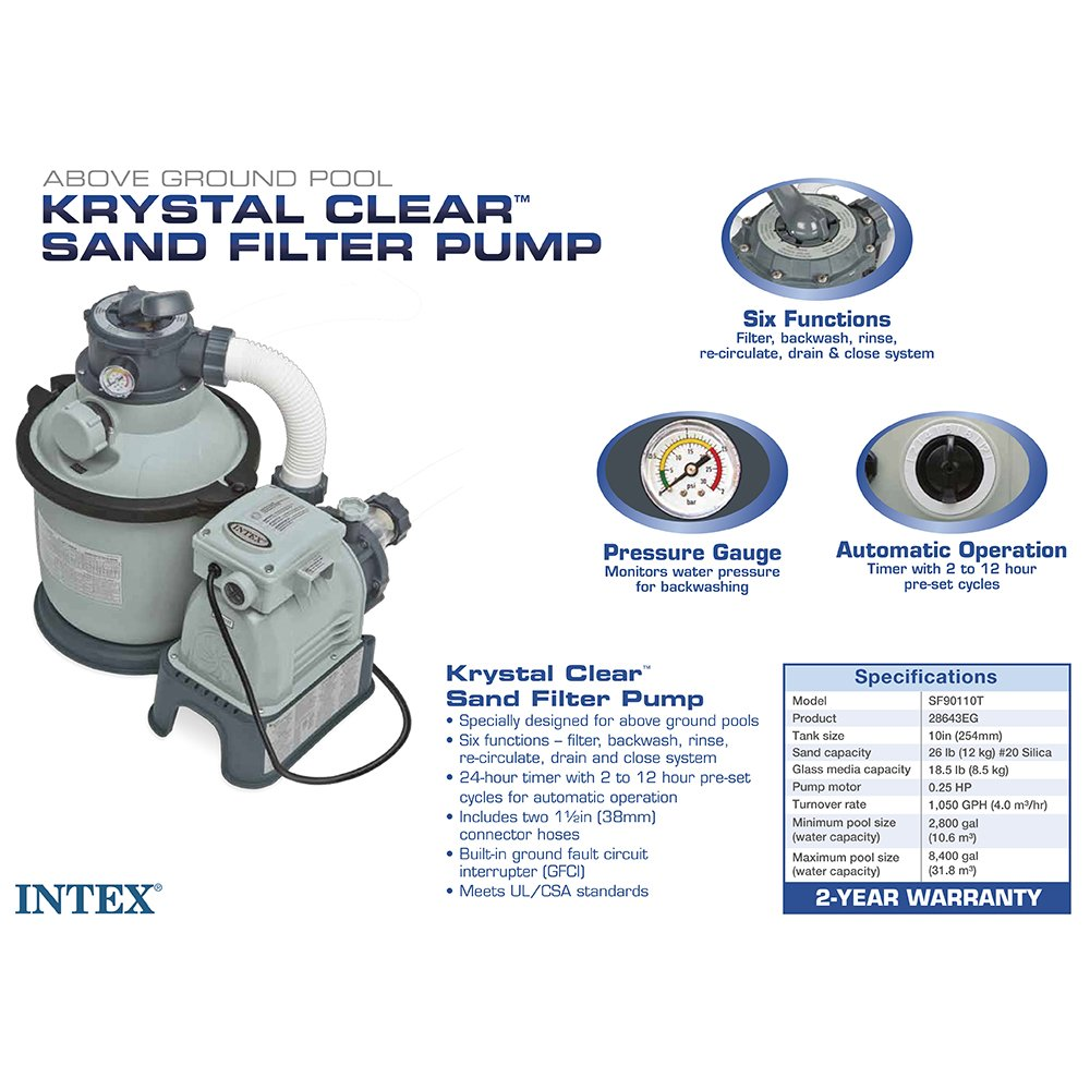 Intex Krystal Clear Sand Filter Pump for Above Ground Pools, 1050 GPH System Flow Rate, 110-120V with GFCI