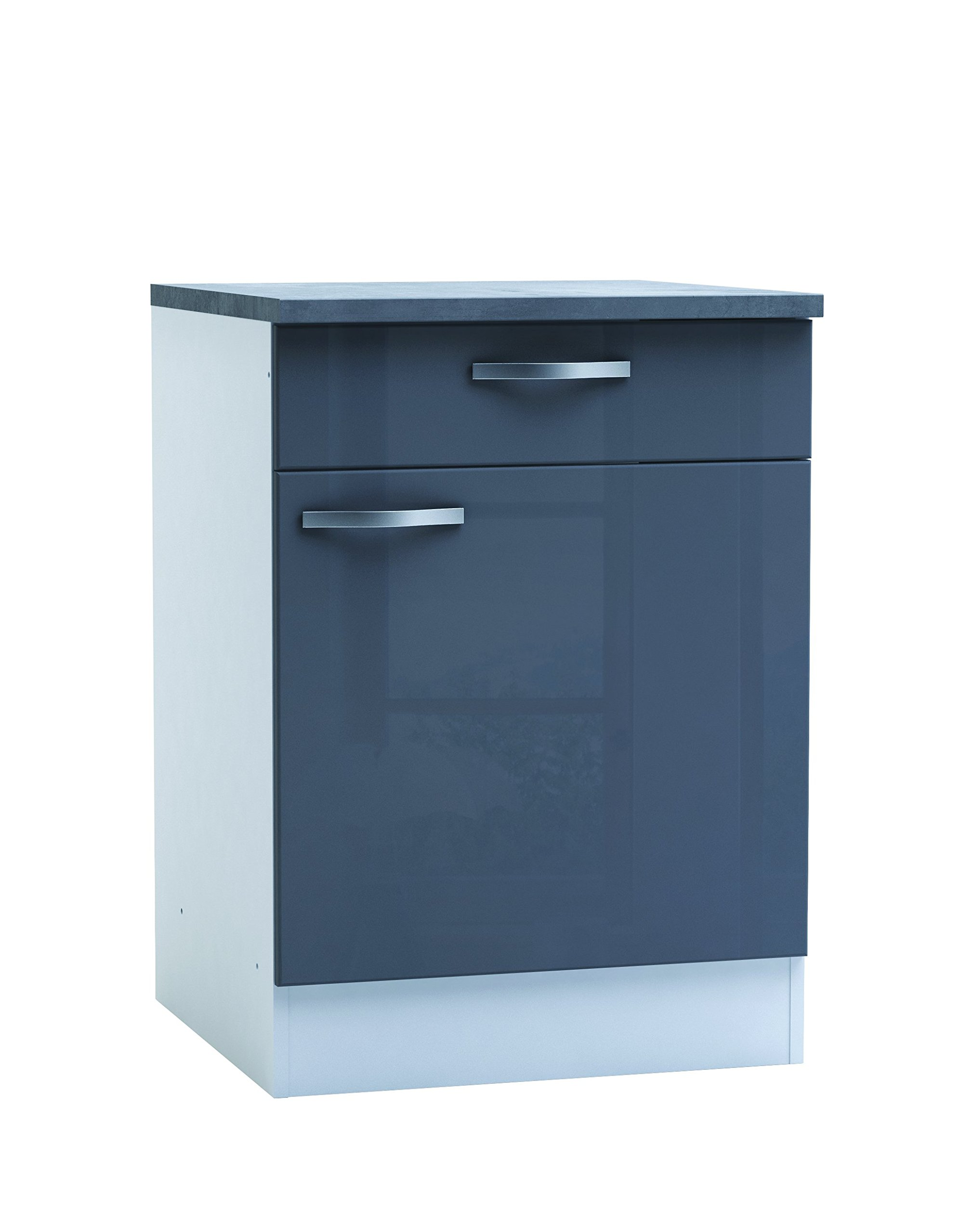 Generic Kitchen 1Door/1Drawer Base Cabinet 60cm Glossy Grey