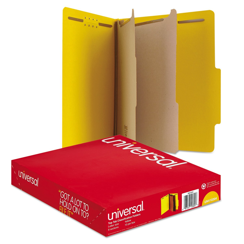 Universal Pressboard Classification Folders, Letter, Six-Section, Yellow, 10/Box (10304) by Universal
