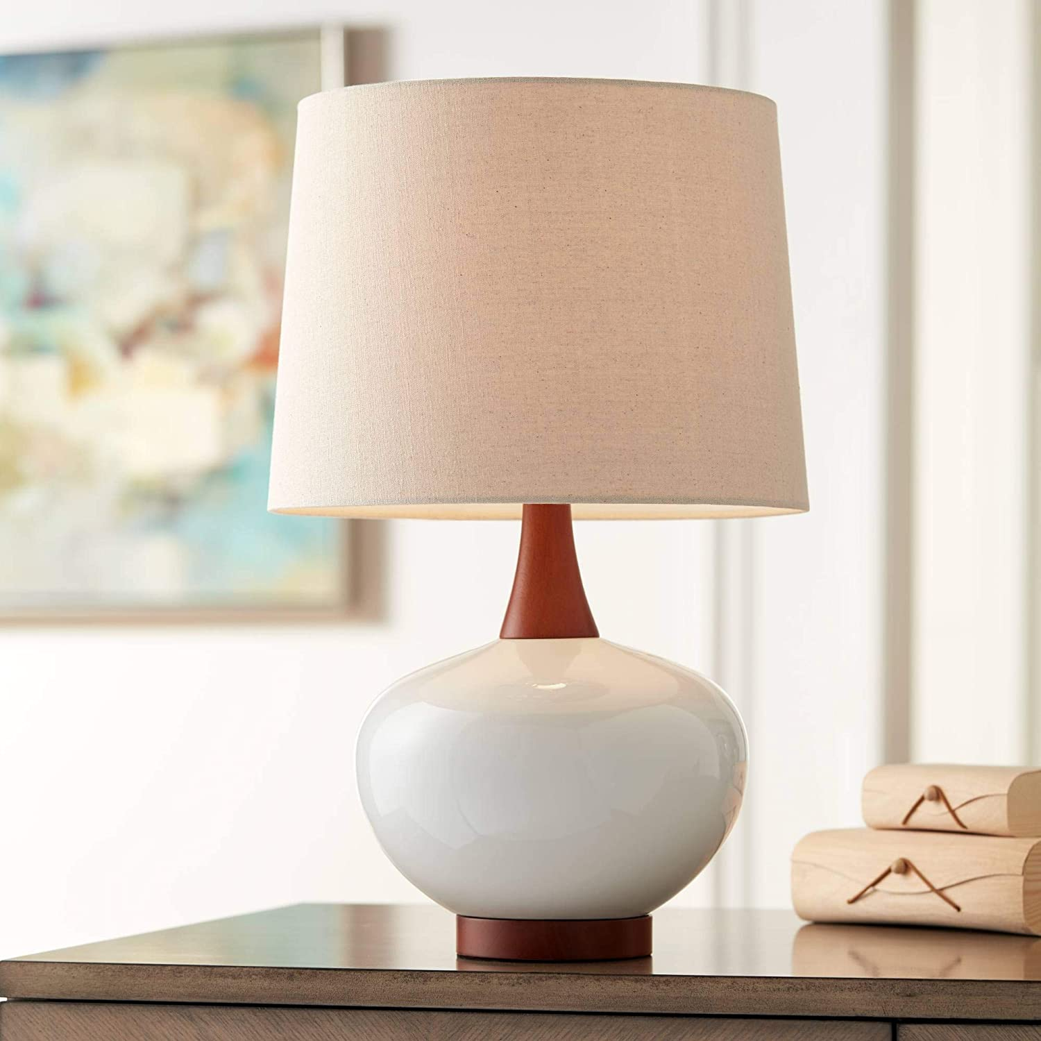 Brice Mid Century Modern Contemporary Style Table Lamp Ceramic Ivory Off White Tapered Drum Shade Decor For Living Room Bedroom House Bedside Nightstand Home Office Family 360 Lighting