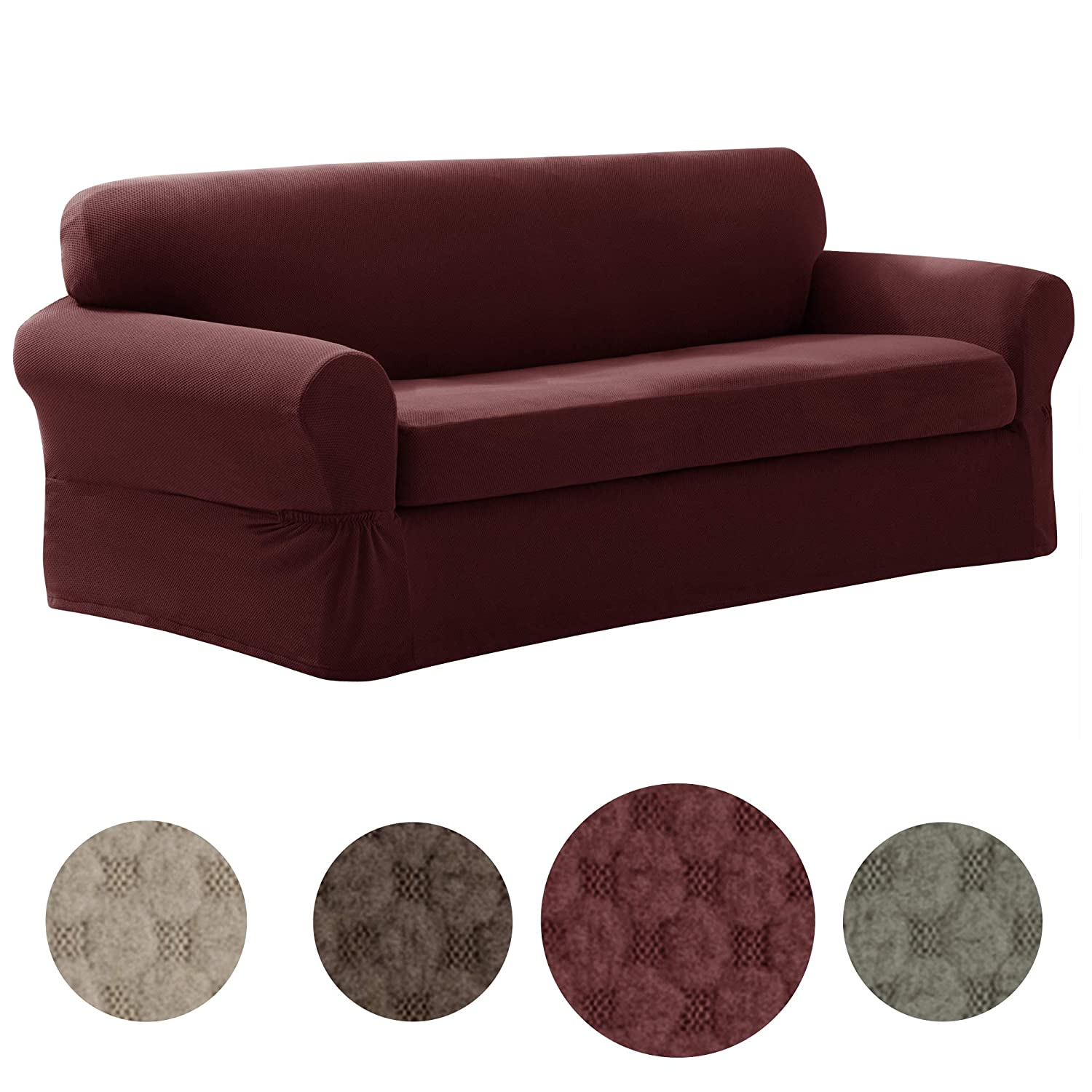 MAYTEX Pixel Ultra Soft Stretch 2 Piece Sofa Furniture Cover Slipcover, Wine Red