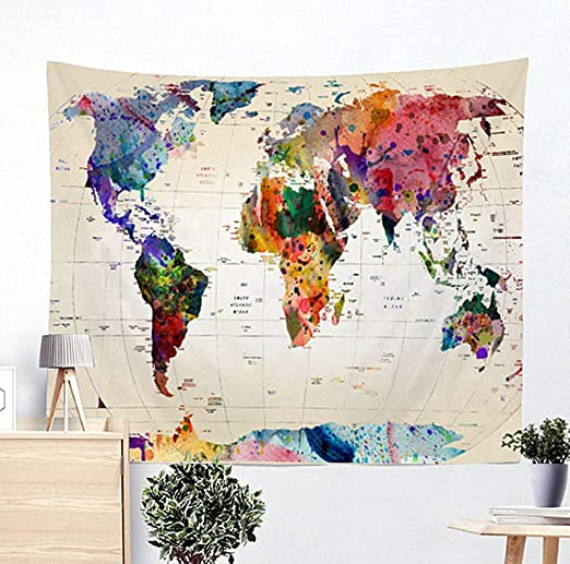 tapestry map of the world Amazon Com Jasion Watercolor World Map Tapestry Abstract Map Wall